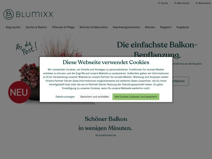 Screenshot des Onlineshops von Blumixx