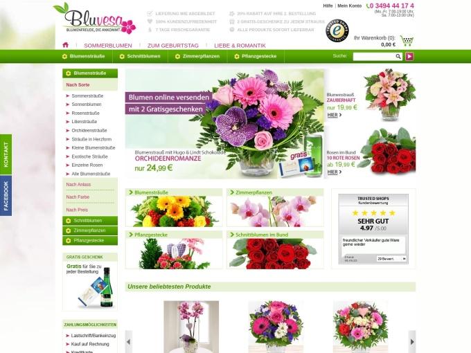 Screenshot des Onlineshops von Bluvesa