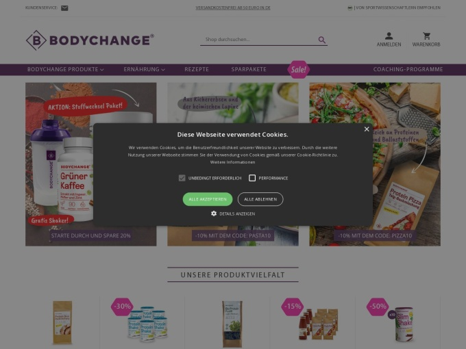 Screenshot des Onlineshops von BodyChange-Shop