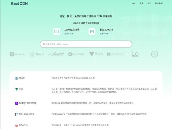 www.bootcdn.cn的网站截图