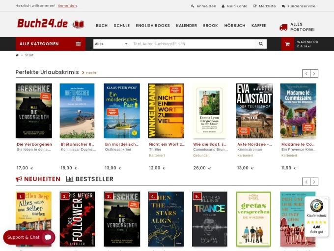 Screenshot des Onlineshops von Buch24.de