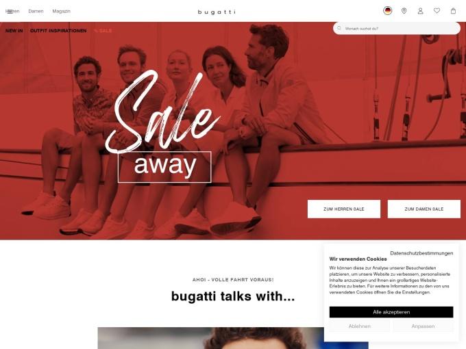 Screenshot des Onlineshops von bugatti