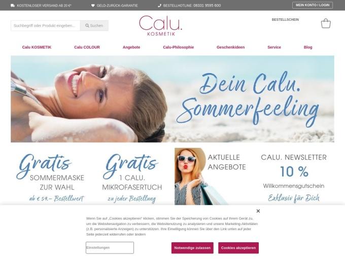 Screenshot des Onlineshops von Calu