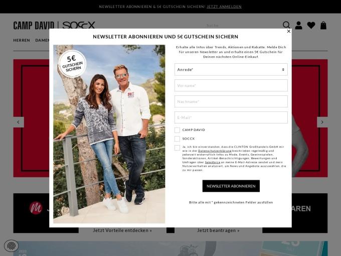 Screenshot des Onlineshops von Camp David