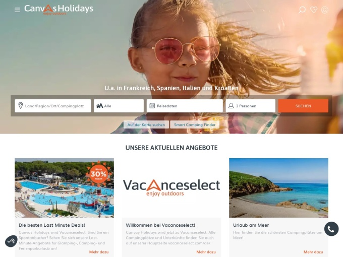 Screenshot des Onlineshops von Canvas Holidays