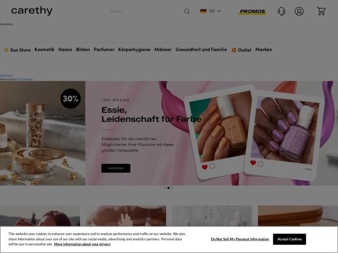 Screenshot des Onlineshops von Carethy