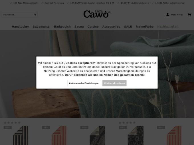 Screenshot des Onlineshops von Cawö