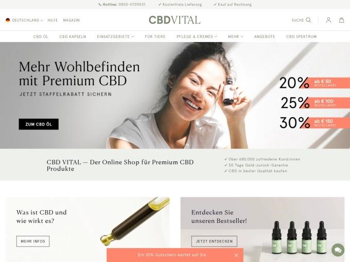 Screenshot des Onlineshops von CBD-Vital