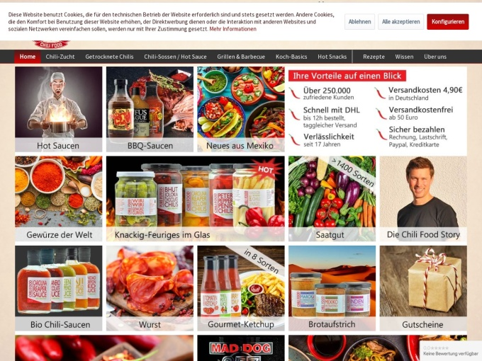 Screenshot des Onlineshops von CHILI FOOD