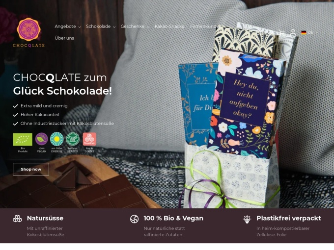 Screenshot des Onlineshops von ChocQlate