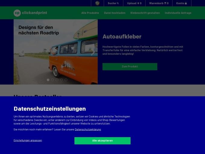 Screenshot des Onlineshops von clickandprint.de