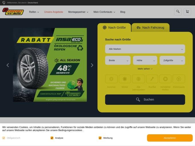 Screenshot des Onlineshops von ConfortAuto