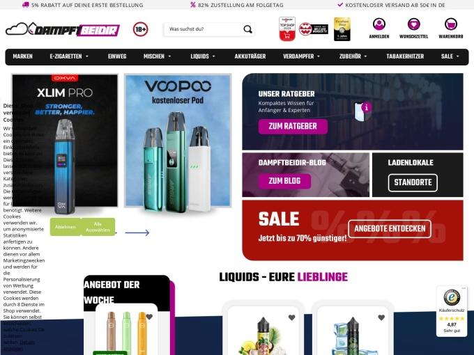 Screenshot des Onlineshops von DAMPFTBEIDIR