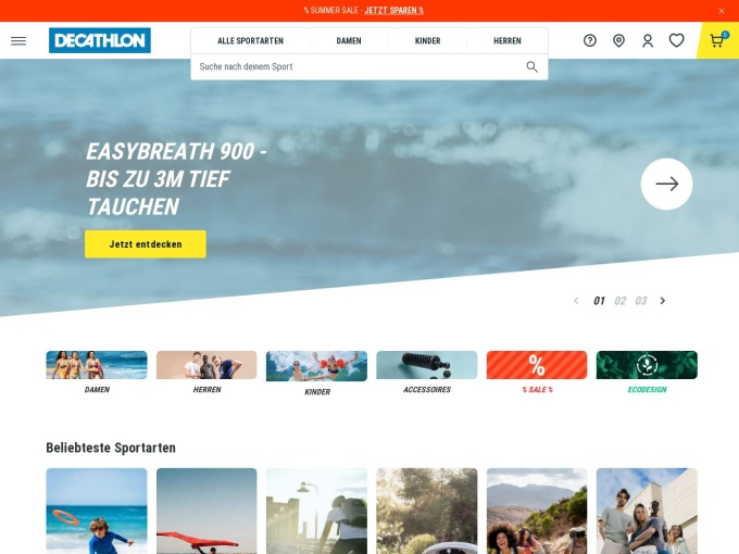 Screenshot des Onlineshops von DECATHLON