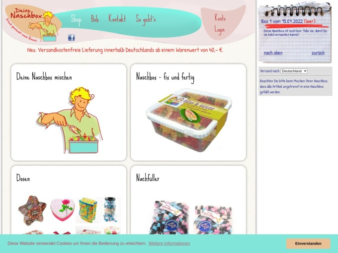 Screenshot des Onlineshops von DeineNaschbox