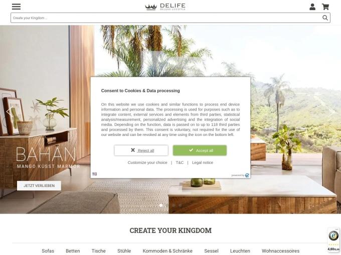 Screenshot des Onlineshops von DeLife