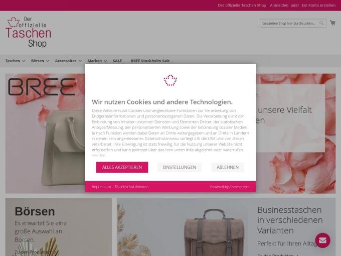 Screenshot des Onlineshops von Der offizielle Taschen Shop