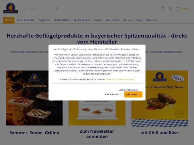 Screenshot des Onlineshops von Der Puten Shop