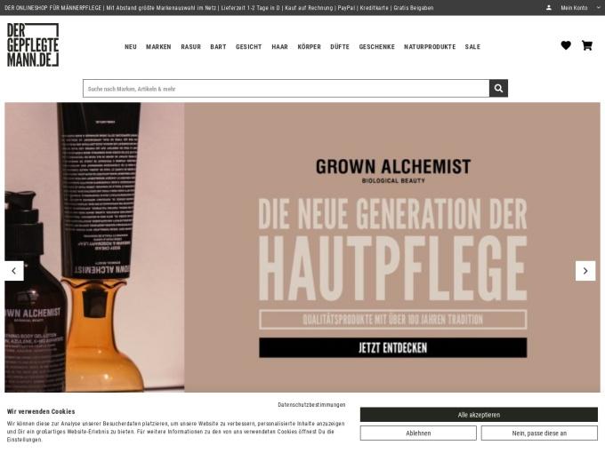 Screenshot des Onlineshops von Der gepflegte Mann