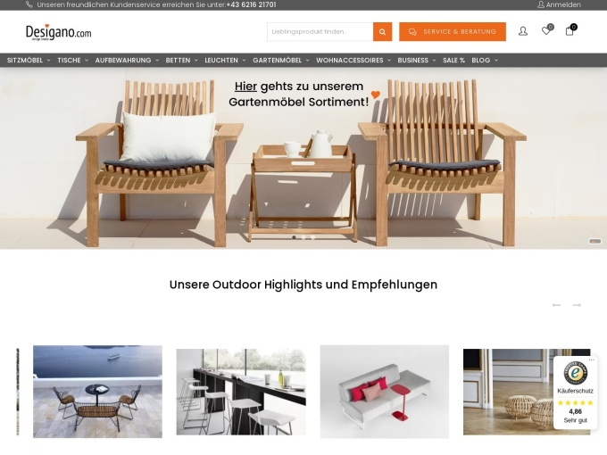 Screenshot des Onlineshops von Desigano