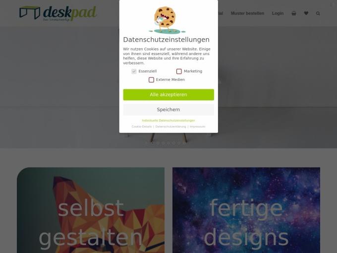 Screenshot des Onlineshops von deskpad.de