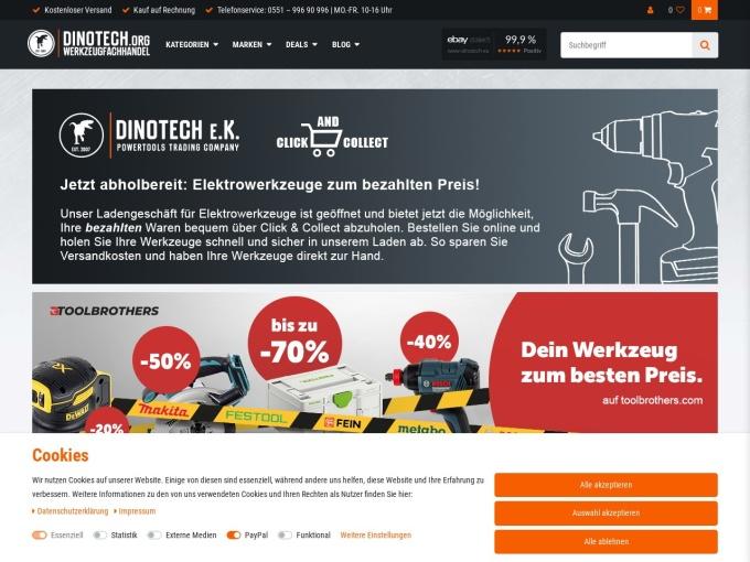Screenshot des Onlineshops von Dinotech