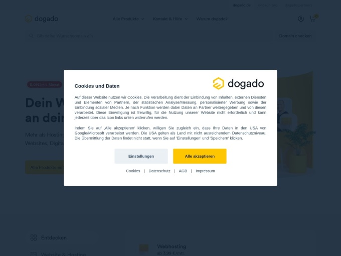 Screenshot des Onlineshops von dogado