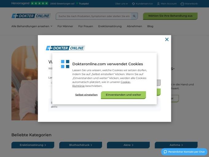 Screenshot des Onlineshops von DOKTERONLINE