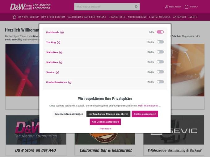 Screenshot des Onlineshops von D&W