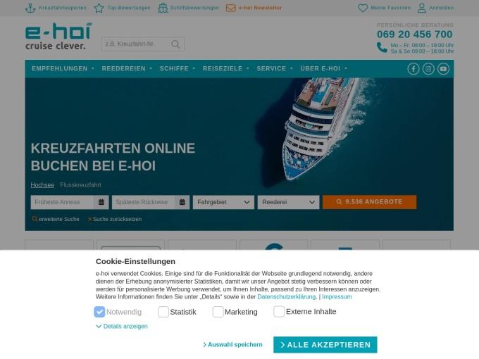Screenshot des Onlineshops von e-hoi