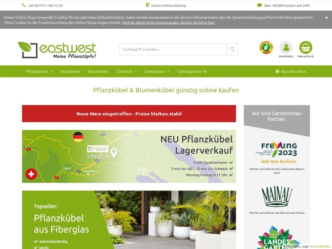 Screenshot des Onlineshops von Eastwest-Trading