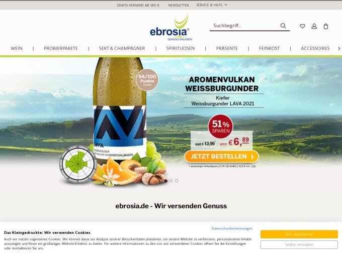 Screenshot des Onlineshops von ebrosia