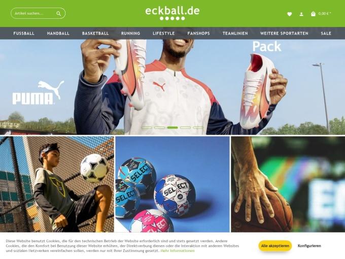 Screenshot des Onlineshops von eckball.de