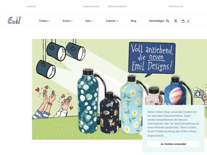 Screenshot des Onlineshops von Emil
