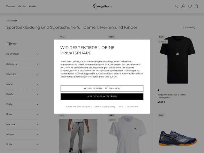 Screenshot des Onlineshops von engelhorn sports