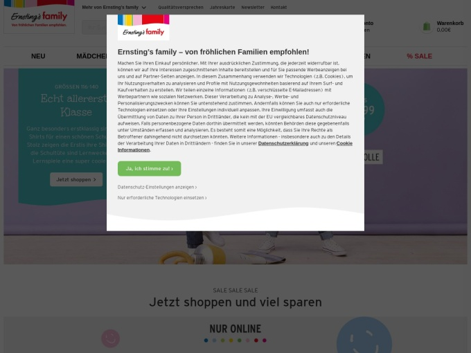 Screenshot des Onlineshops von Ernsting's family