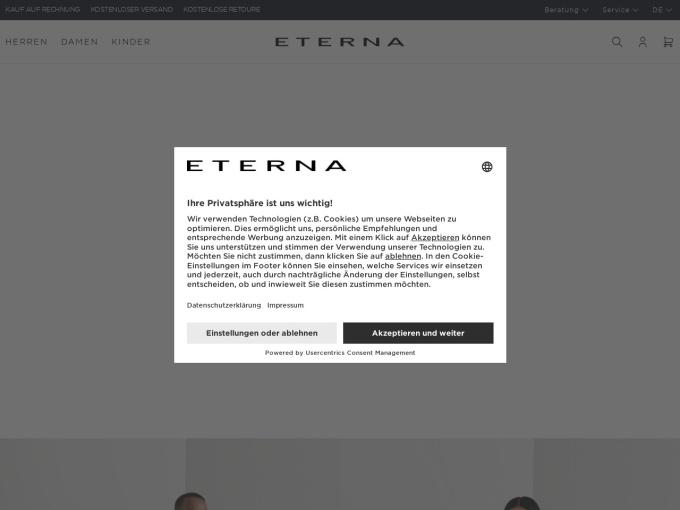 Screenshot des Onlineshops von ETERNA