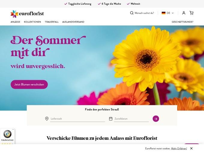 Screenshot des Onlineshops von euroflorist