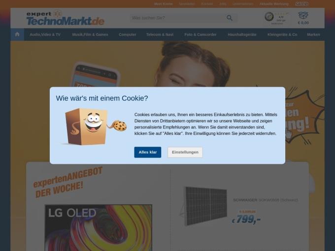 Screenshot des Onlineshops von expert TechnoMarkt