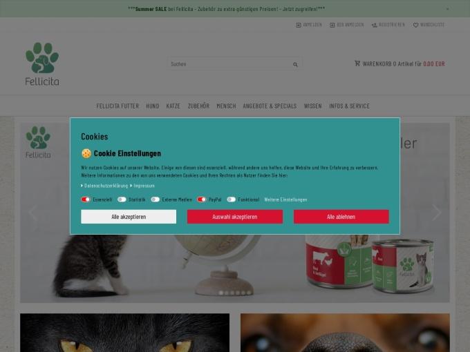 Screenshot des Onlineshops von Fellicita