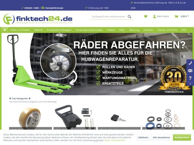 Screenshot des Onlineshops von finktech24