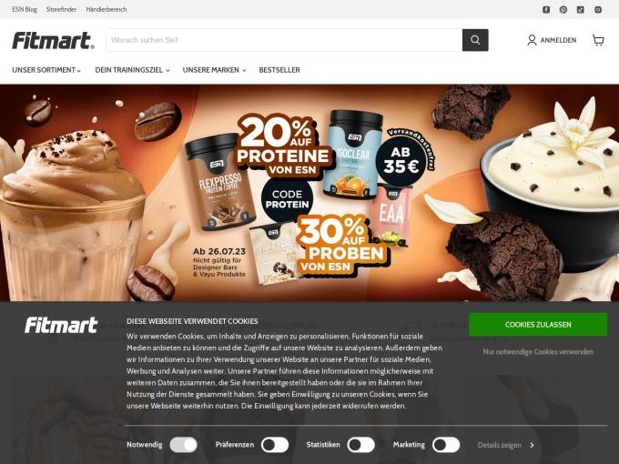 Screenshot des Onlineshops von fitmart