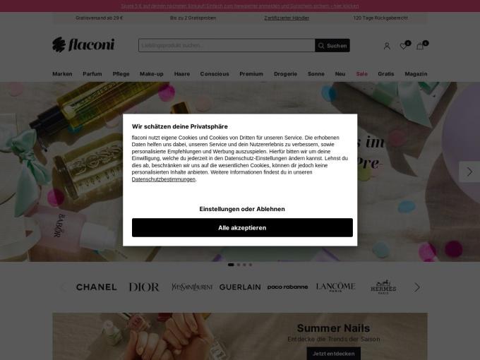 Screenshot des Onlineshops von FLACONI