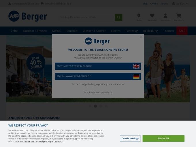 Screenshot des Onlineshops von Fritz Berger