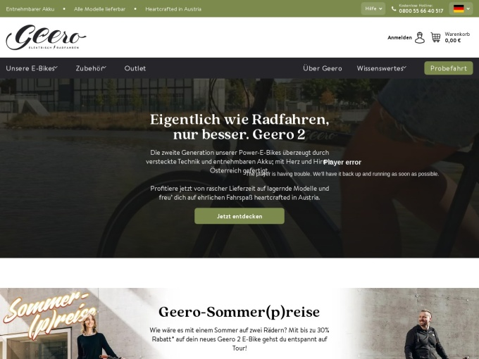 Screenshot des Onlineshops von Geero