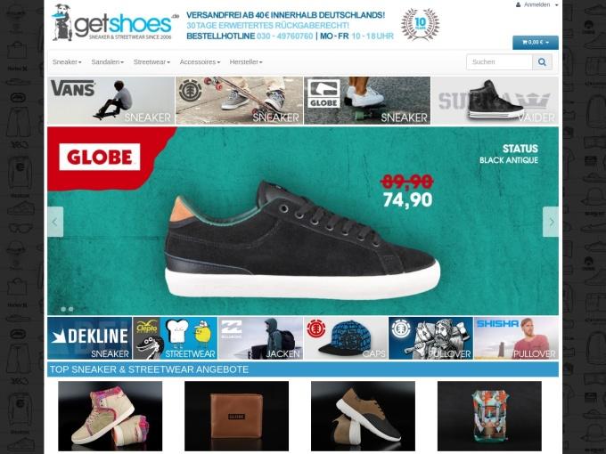 Screenshot des Onlineshops von getshoes