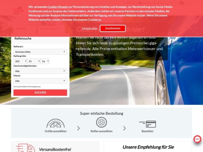 Screenshot des Onlineshops von Giga Reifen