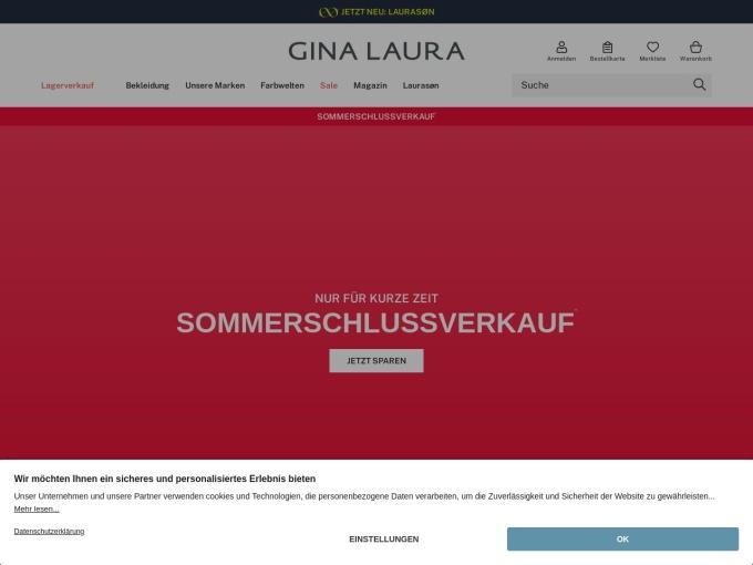 Screenshot des Onlineshops von GINA LAURA
