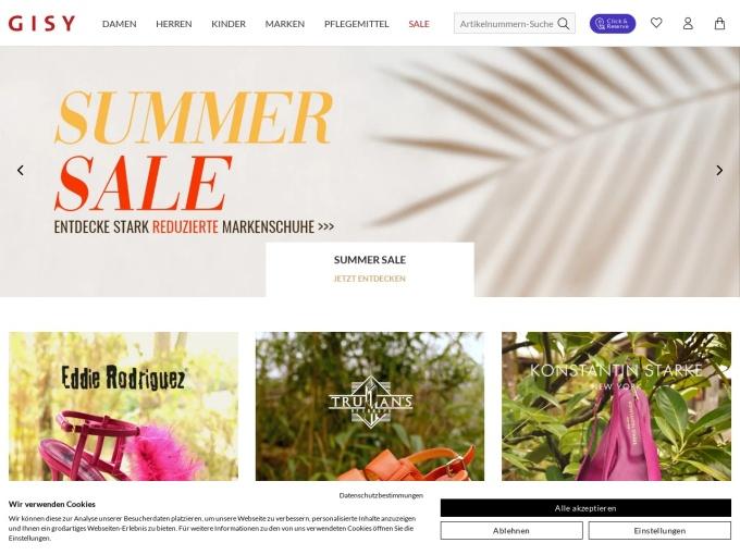 Screenshot des Onlineshops von GISY Schuhe