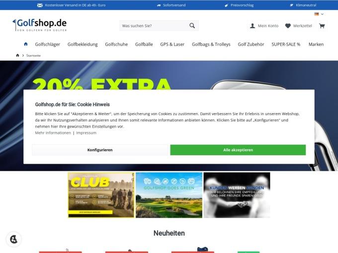Screenshot des Onlineshops von Golfshop.de